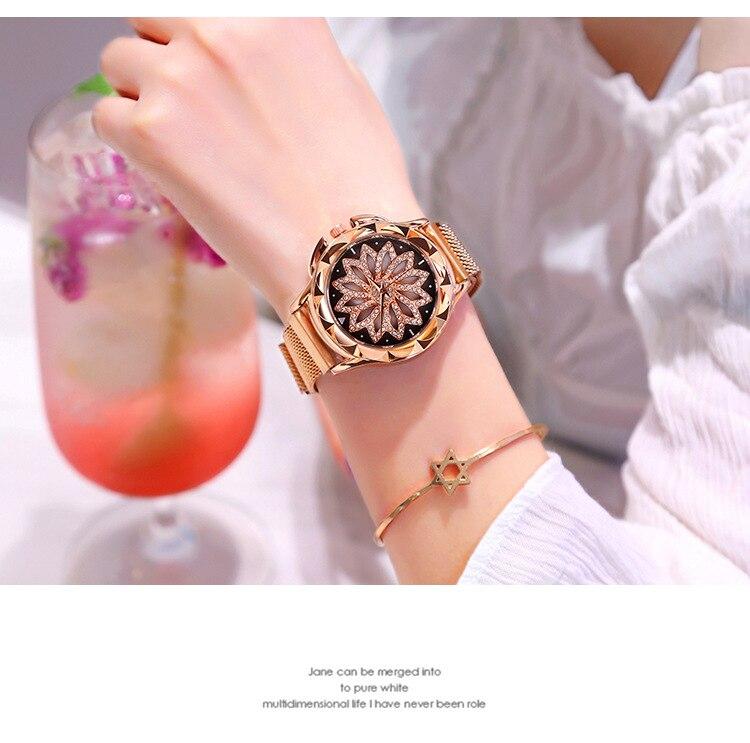 Fashion Women Rose Gold Flower Rhinestone Wrist Watches Luxury Casual Female Quartz Watch Relogio Fe