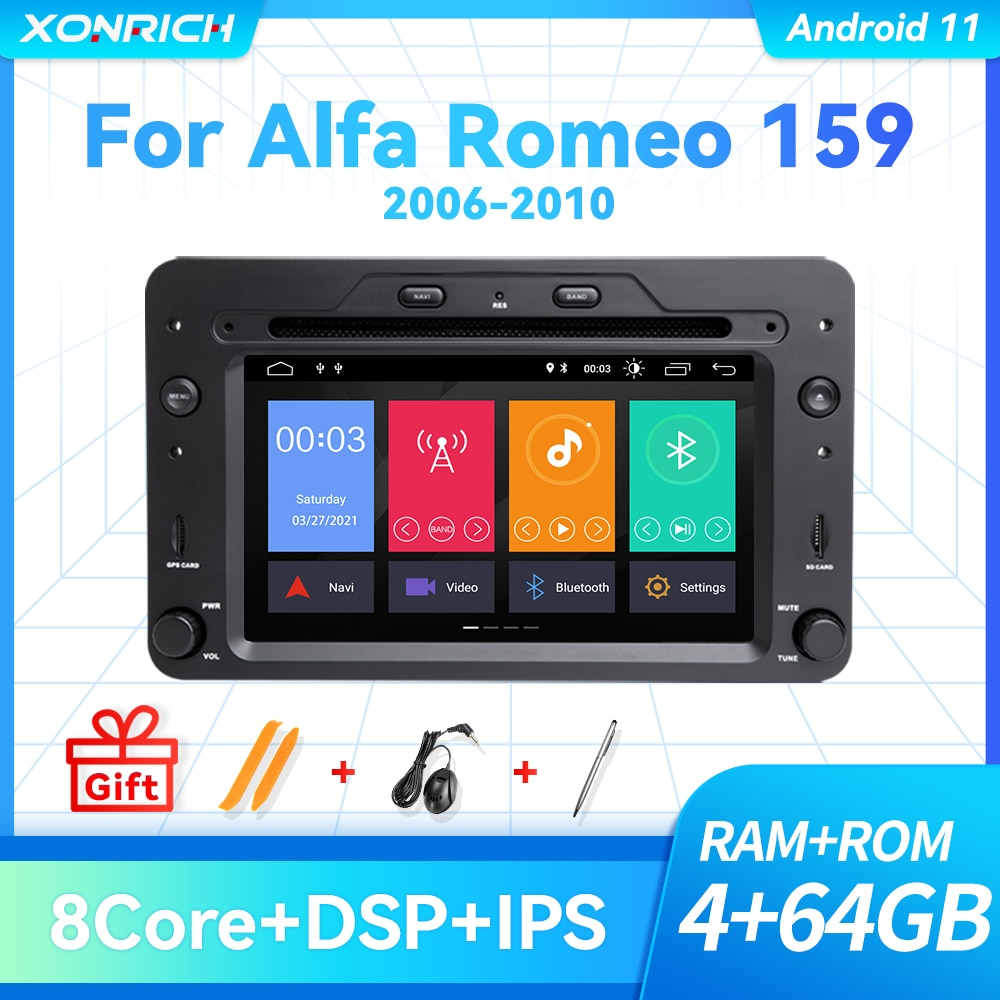 Автомобильный DVD-плеер 2 Din на Android 11, 4 ГБ, 64 ГБ, стерео для Alfa Romeo Spider Brera 159 Sportwagon 2006, GPS-навигация, радио DSP Carplay