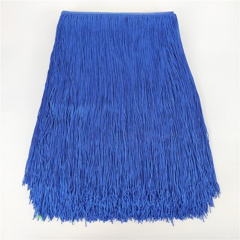 5 yardas/lote 50cm de ancho volante de flecos azul encaje poliéster borla accesorios de ropa vestido de novia Latino borla cinta Diy