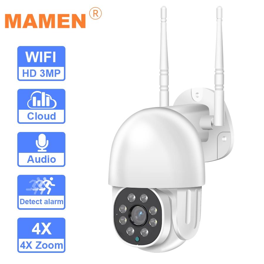 كاميرا مراقبة خارجية PTZ IP Wifi hd 1080P ، جهاز أمان لاسلكي ، مع تقريب رقمي 4X ، AI ، كشف الإنسان ، H.265 ، صوت ONVIF P2P ، 3MP