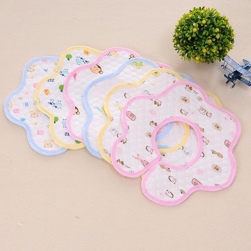 Newborn Babies Saliva Towel Cartoon Print Infants Bibs Cloths Waterproof 360 Degrees Rotating Pure Cotton Burp Cloths