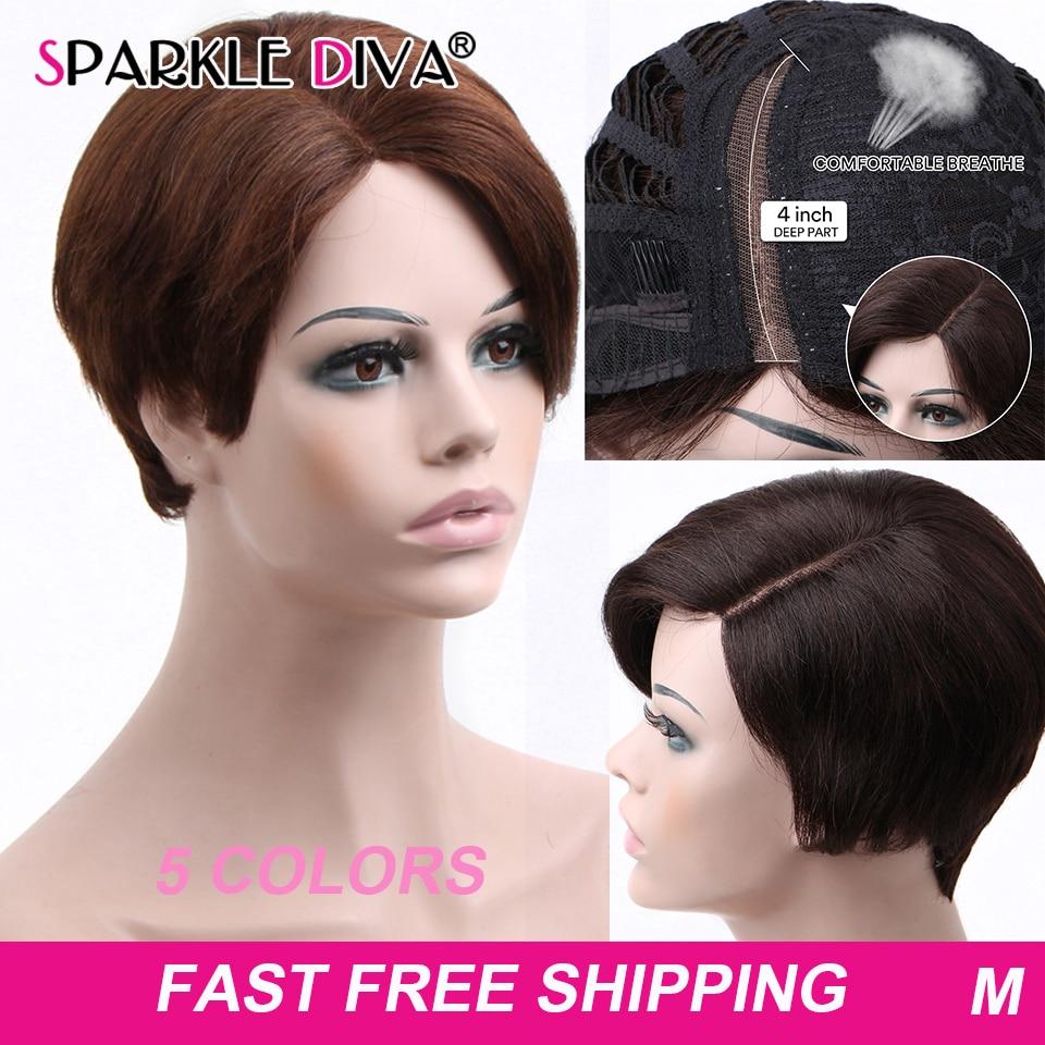 Brazilian Straight Human Hair Wigs For Black Women U Part Wig 150% Pixie Cut Lace Wigs Short Bob Ombre Human Hair Wigs Remy Hair