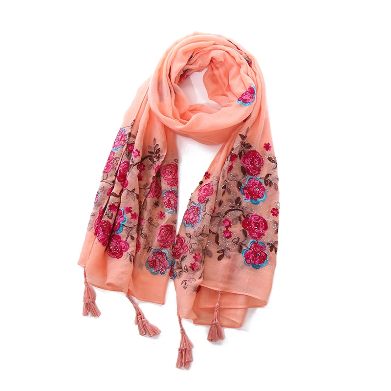 Lujosos bufandas de bordado de flores de hiyabs, chales elegantes para mujer, borlas hechas a mano, bandana musulmana, chales de cabeza, 10 unids/lote