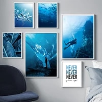 blue ocean diving banana leaf dandelion wall art canvas painting nordic posters and prints wall pictures for living room decor