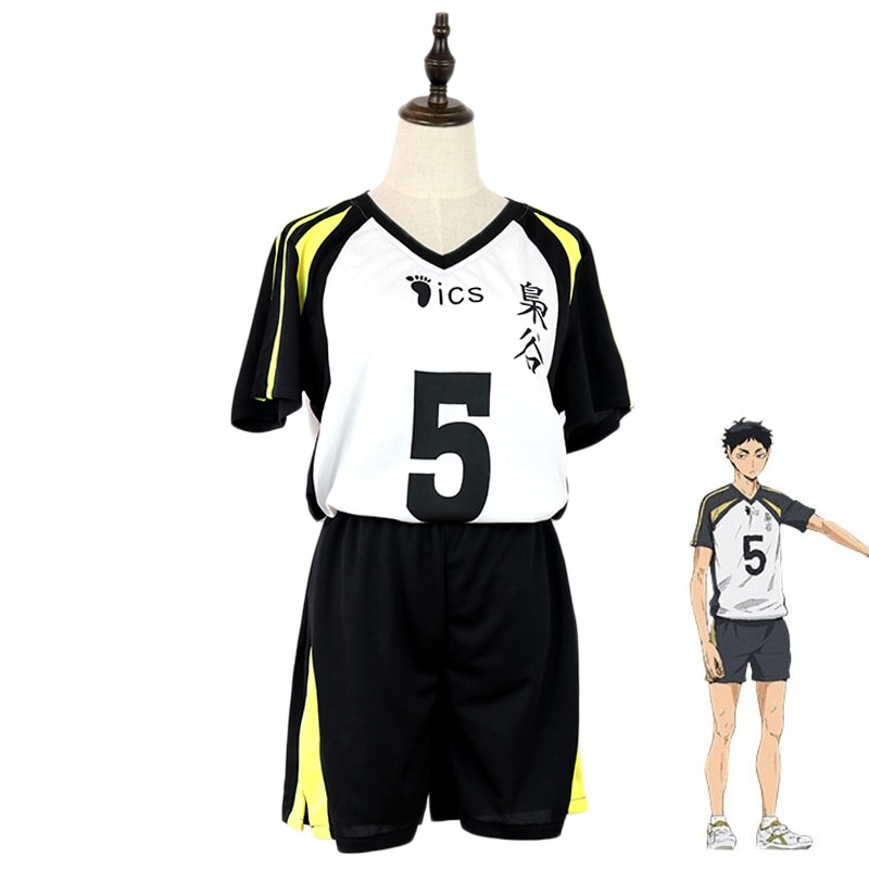 Haikyuu!! Fukurodani Akaashi Keiji Uniform T-shirt Shorts Cosplay Costume Haikiyu Volley Ball Team Jersey Sportswear