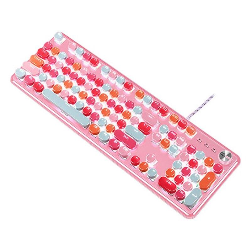 2021 Pink girl hot selling product K520 pink mechanical keyboard wired green axis girl heart girl lipstick macaron keyboard enlarge