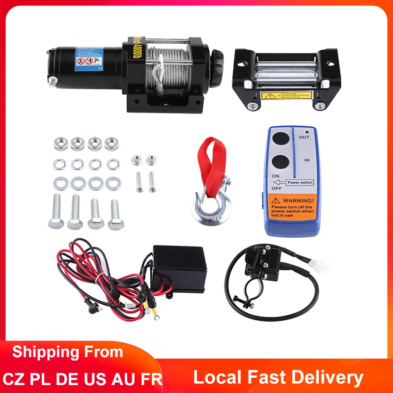 4000lbs electric recovery winch kit atv trailer truck car dc12v remote control winches recovery winch set with 12v battery 4000lbs Electric Winch Electric Recovery Winch DC 12V Winch Block Hoist 15M Steel Cable Heavy Duty Remote for Car Truck Trailer