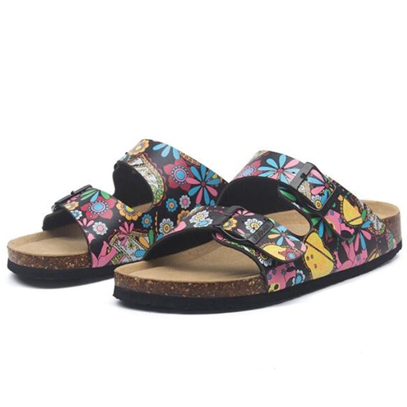 New Summer Men Beach Cork Slippers Casual Unisex Double Buckle Clogs Slides Man Slip on Outside Slipper Shoe Plus Size 35-45