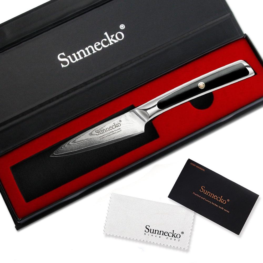 SUNNECKO 3,5 pulgadas cuchillo de cocina damascus japonés VG10 Core hoja de acero cocina cuchillos afilados fruta pelador y cortador herramienta G10 manejar