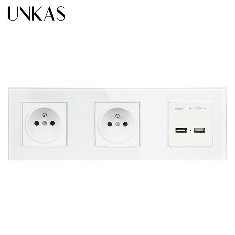 UNKAS الفرنسية منفذ قياسي مع Usb ، 2 عصابة الجدار الكهربائية/الطاقة مزدوجة المقبس/التوصيل مع المزدوج USB ميناء 2100mA