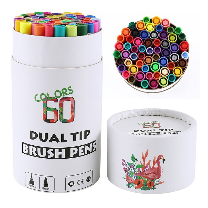 Art Markers Pen Dual Tips Brush Fineliner Watercolor Pens for Calligraphy Drawing Sketching Coloring Book Coloring Stationery