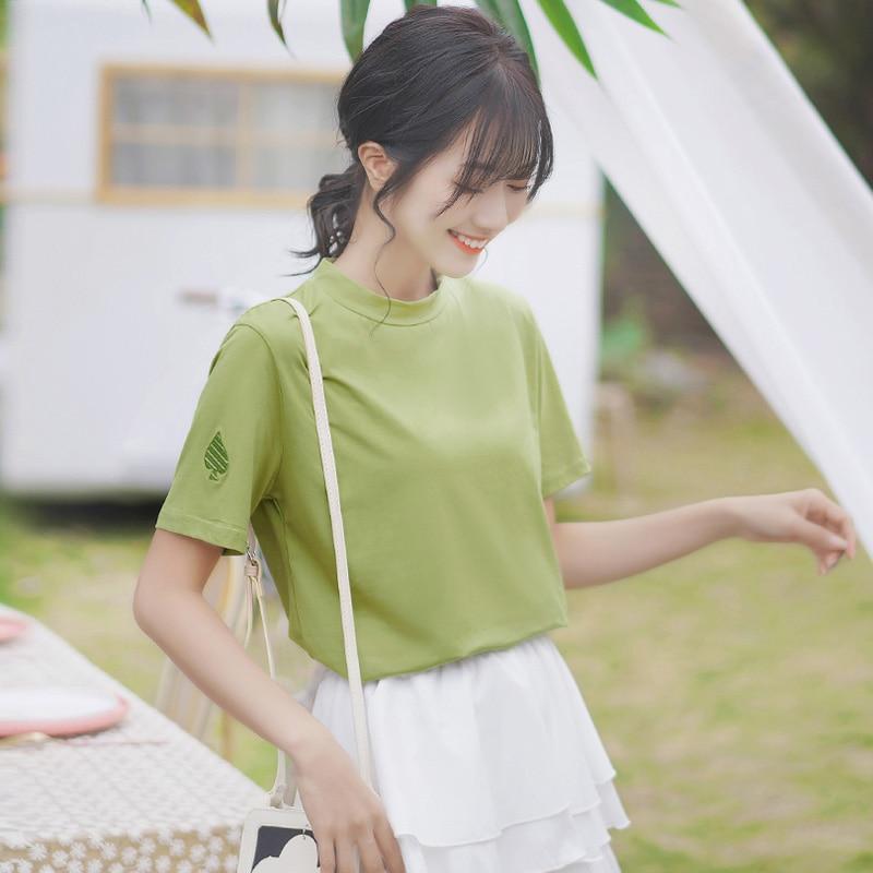 Summer Khaki 2020 New Green Cotton T-shirt Women's Short Sleeve Stand Collar Loose Korean Style Ins