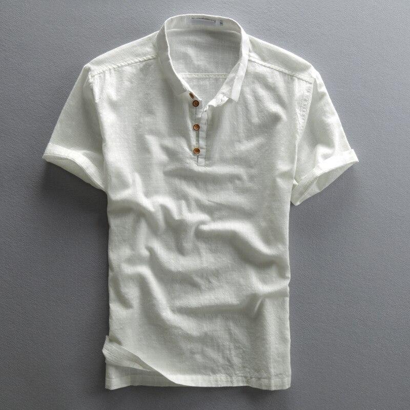 Рубашка Мужская льняная с отложным воротником, однотонная приталенная блуза с короткими рукавами, винтажный стиль, весна-лето 2020