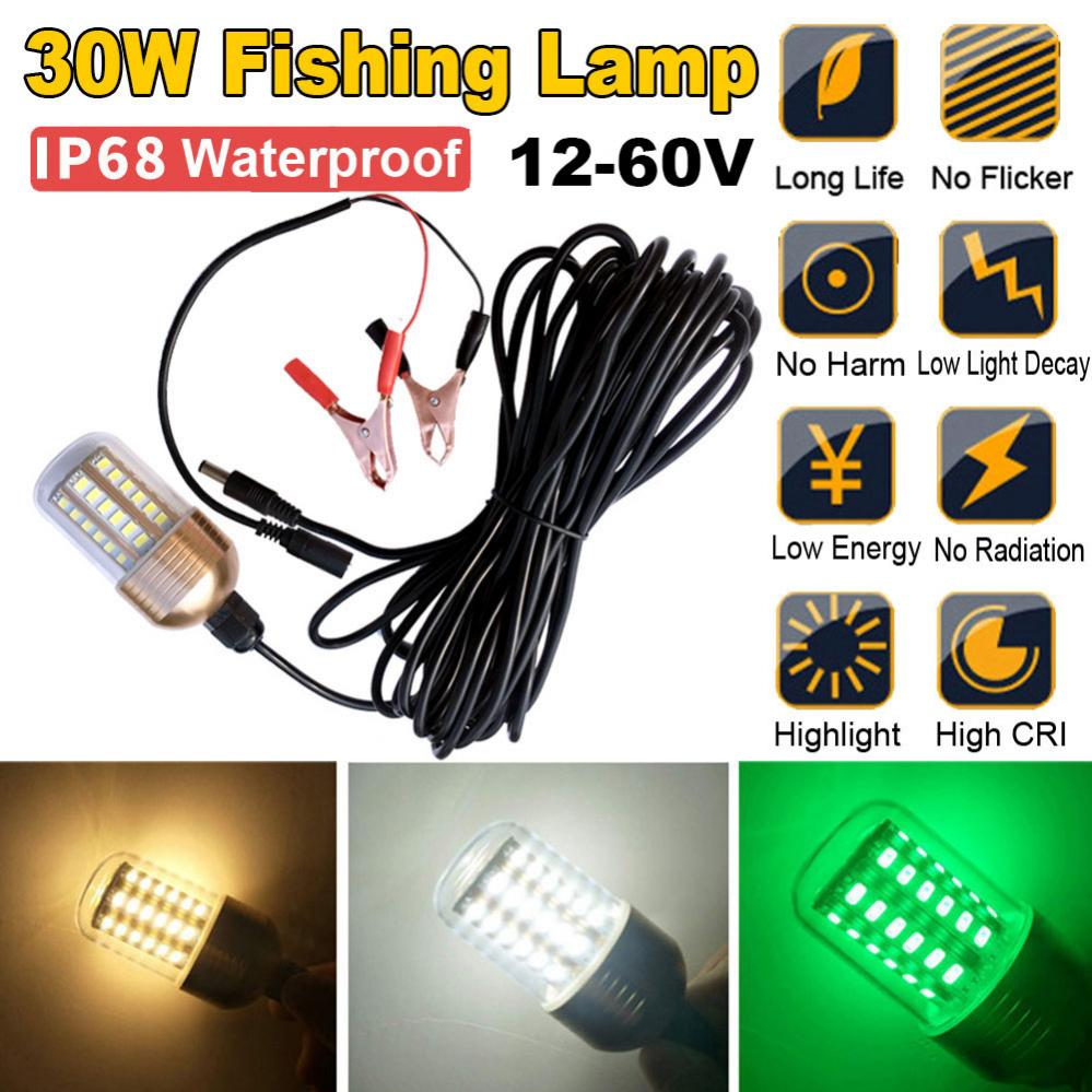 30W 12V-60V Green Underwater Fishing Lights 60Pcs 5730 LED Light / Lures Fish Finder Lamp Attracts Prawns Squid /Krill