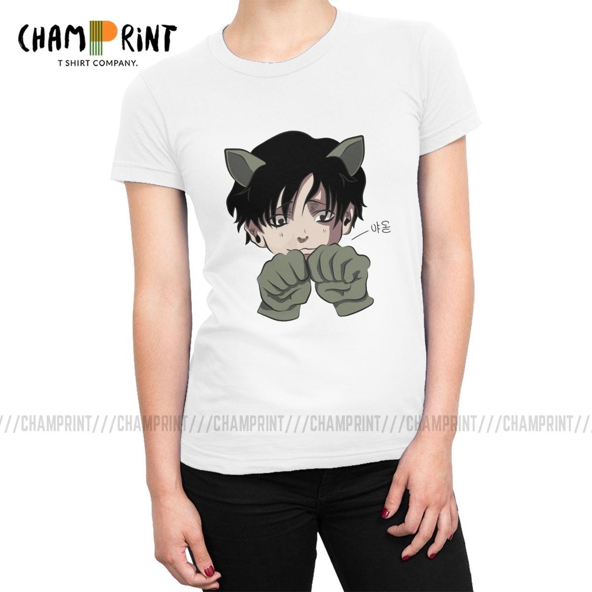 Yoon vagabundo gato matando perseguindo camisetas femininas yoonbum coreano yaoi manga moda tshirt lazer impresso roupas para o sexo feminino