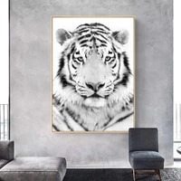 white tiger animal poster and print wall art canvas picture painting minimalist nordic decoration modern living room home decor