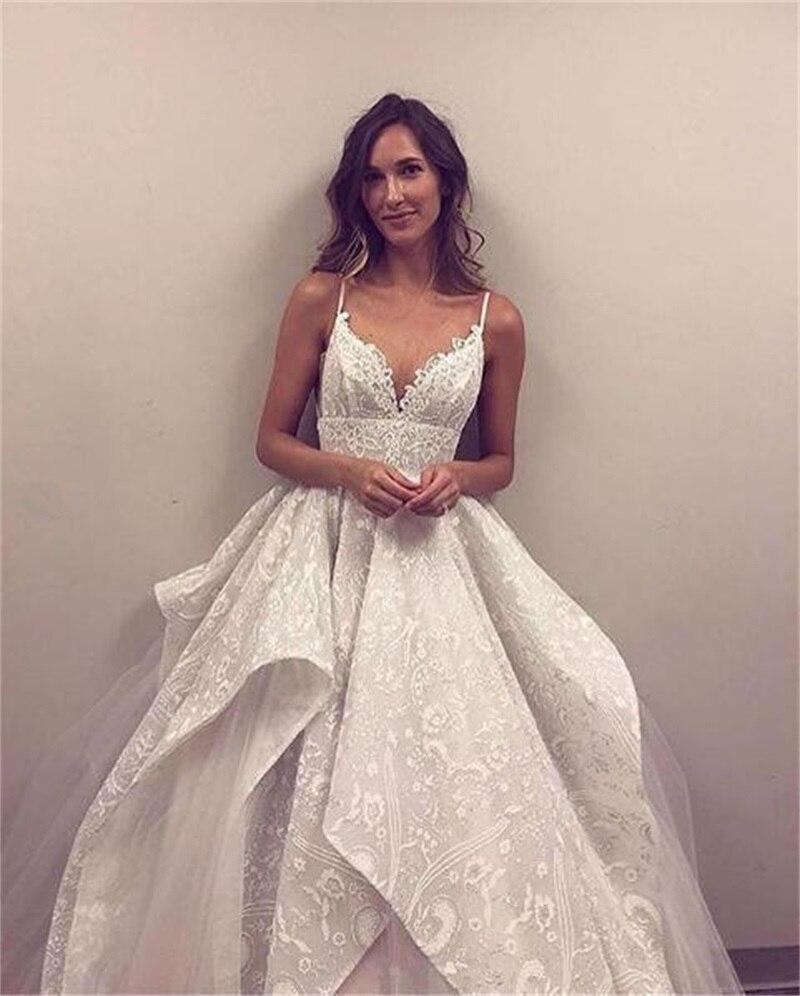 2020 vestido de noiva de renda romântica com decote em v sem costas vestidos de noiva de noiva branco tule a linha vestido de casamento vestido de noiva