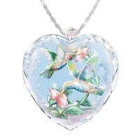 womens heart shaped crystal flower and bird pattern necklace pendant necklace female jewelry
