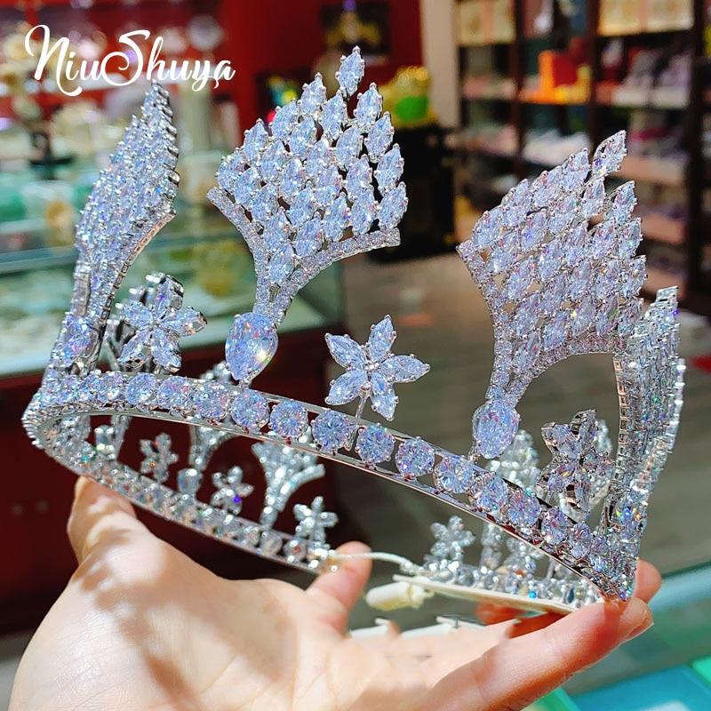 NiuShuya Luxury European Full Cubic Zirconia Royal Queen Crowns Wedding Bridal Tiaras CZ Pageant Headpieces Party Hair Accessory
