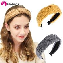 MOLANS, пушистый центр, завязанная плетеная вязаная повязка на голову, одноцветная вязаная крученая повязка на голову, Женская повязка на голо...
