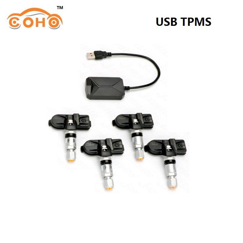 COHO USB Android TPMS sistema de supervisión de presión de neumáticos transmisión inalámbrica 8 bar 116 psi sistema de alarma 5V externo interno