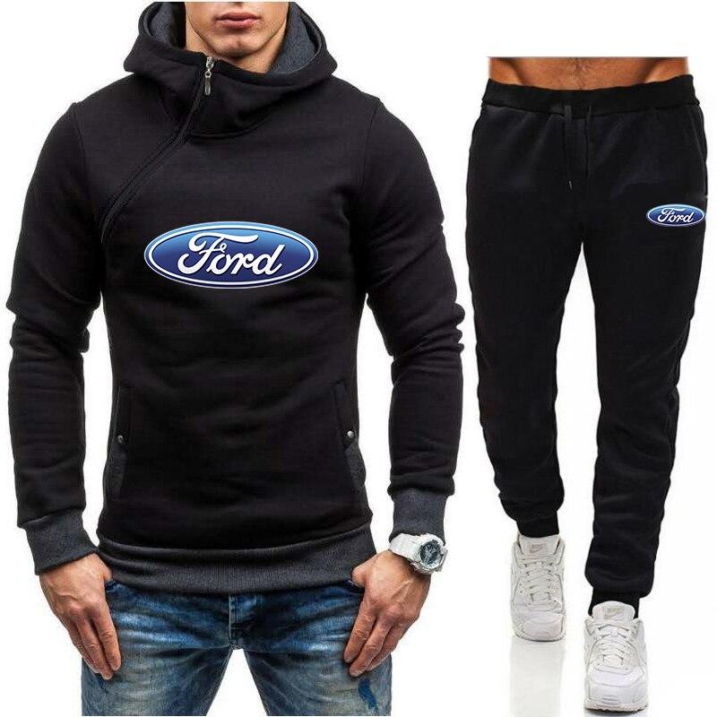 Мужские комплекты 2021, брендовые толстовки на молнии с логотипом автомобиля Ford, спортивные костюмы, горячие мужские толстовки + штаны, мужски...