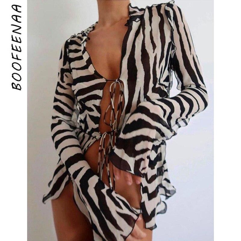BOOFEENAA Sexy Sheer Malha Blusa Mulheres 2020 Queda Zebra Roxo Ruffles Camisas Tie Frente Colheita de Manga Longa Top Cardigan C83-DZ12
