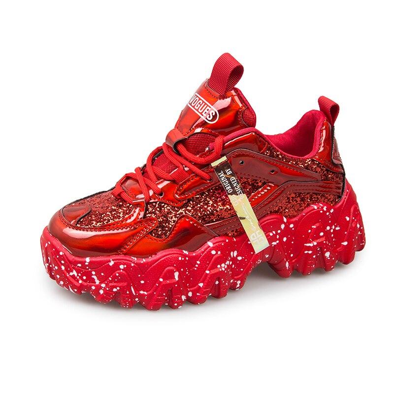 Ins Hot volante grande brillo grueso zapatillas mujer primavera 2020 moda láser Bling Mujer Zapatos de plataforma Tenis Femenino rojo plata