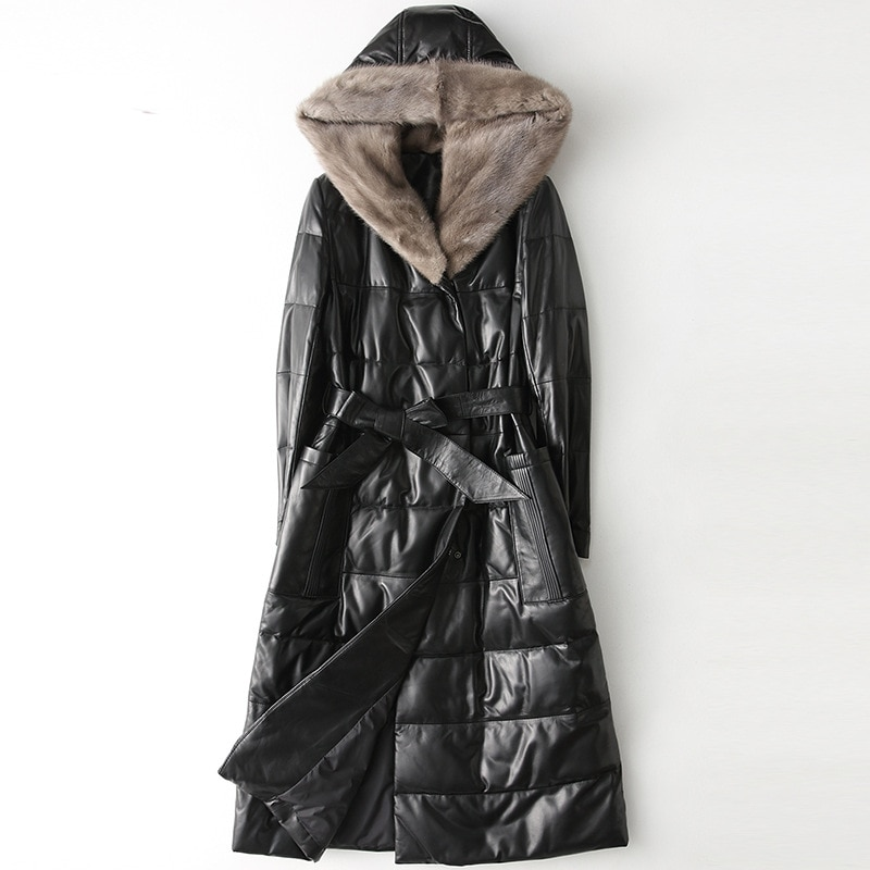 Black Long Slim Sheepskin Down Jackets Coat Mink Hair Hooded Woman Genuine Leather Sashes Winter Thick Warm High Quality Outwear