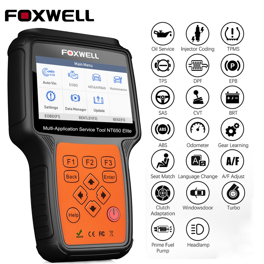 Herramienta de diagnóstico FOXWELL NT650 Elite OBD2 ABS Airbag SAS EPB Oil DPF 25 reiniciar funciones lector de código ODB2 OBDII escáner automotriz