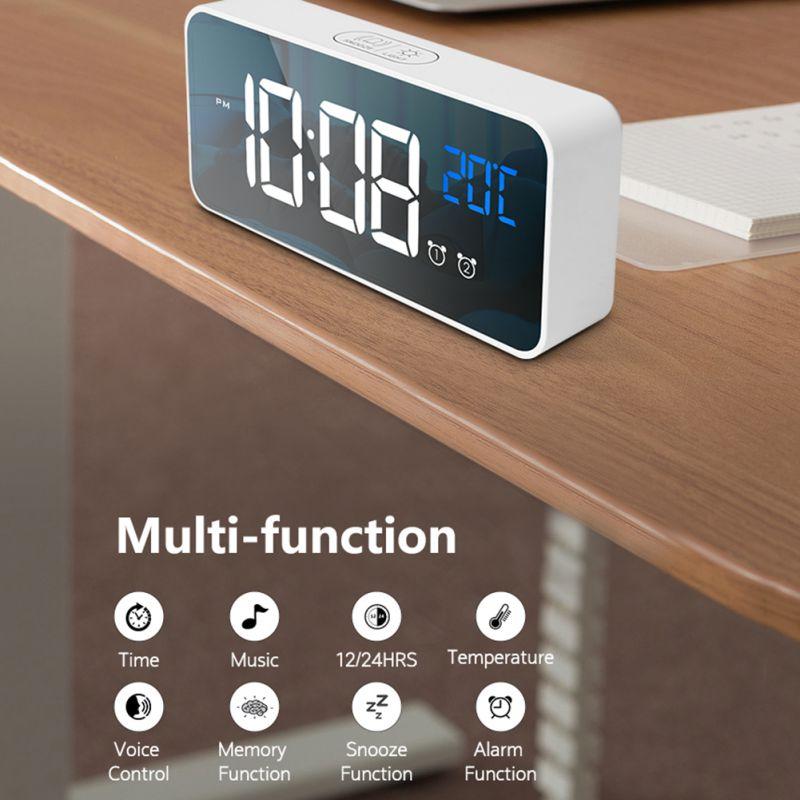 Relojes con Sensor duradero LED despertador Digital Control de voz inteligente Visualización de temperatura relojes electrónicos Amart Luz