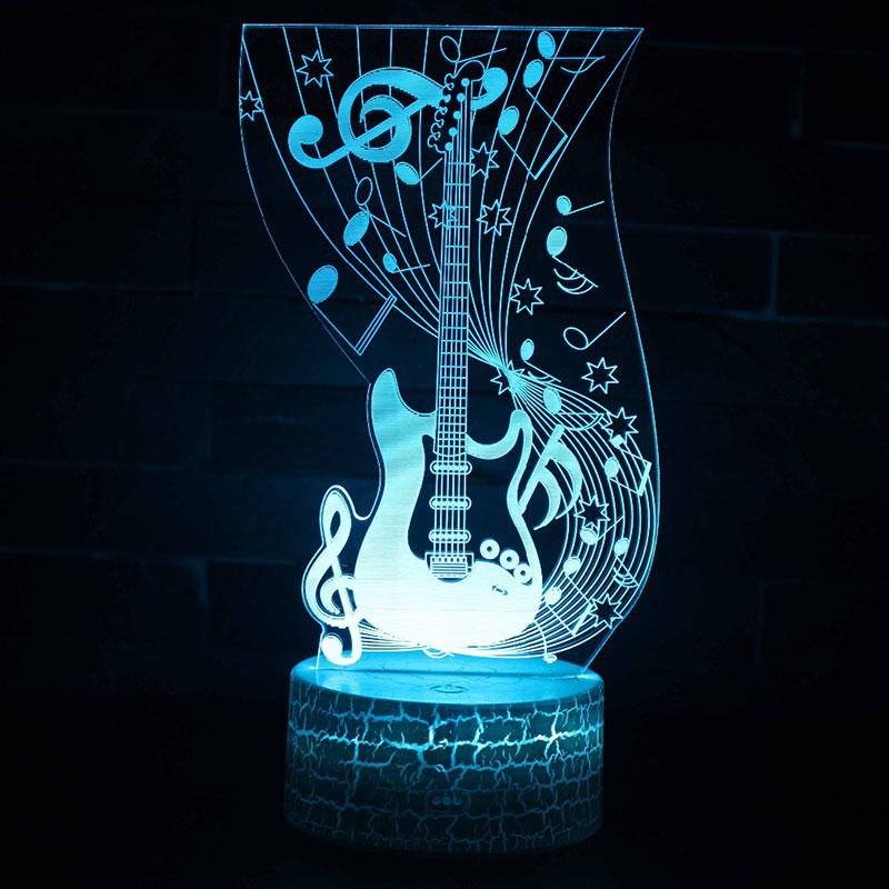 7 colores 3D lámpara LED luz nocturna cambio táctil Musical nota tema humor lámpara Navidad regalos
