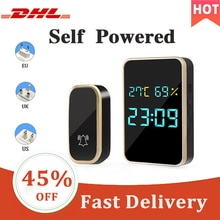 Digital Smart Wireless Doorbell Chime Ring Home Intelligent Temperature Humidity Time View  Self-Pow