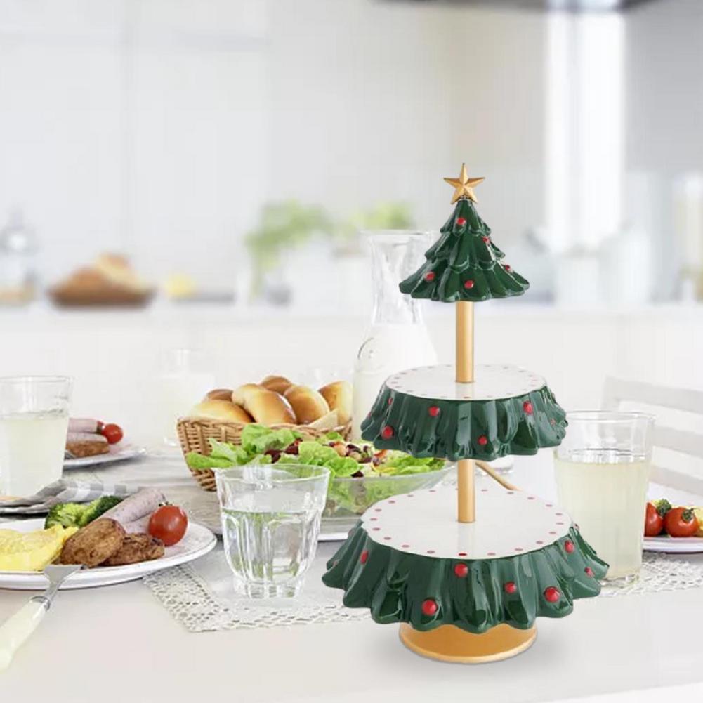 2-Tier وجبة خفيفة تخدم موقف الإبداعية شجرة عيد الميلاد وجبة خفيفة رف سانتا وجبة خفيفة الوقوف ل رقاقة Dip فنجر الغذاء رف شاشة