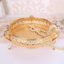 20*20*10cm Rose Gold Obst-fach Kerze Spiegel Glas Vintage lebensmittel Platte Getränke Display Tray plateau miroir vassoio hohe qualität