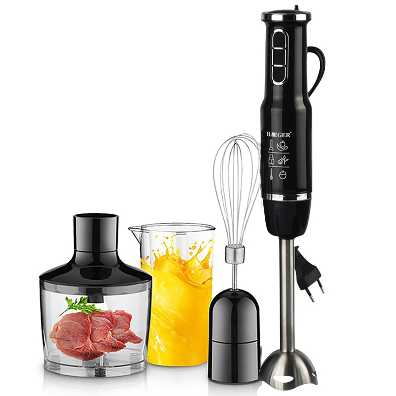 4-in-1 Blender Mixer Stainless Steel 750-1500W Immersion Hand Stick Vegetable Meat Grinder 500mlChopper Whisk 800ml Smoothie Cup