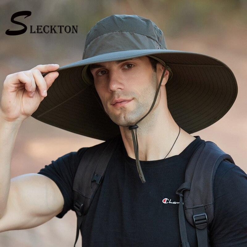 Sombrero de pescador SLECKTON, divertido para hombres, viseras de verano, gorro de pescador impermeable, sombrero de Sol de ala ancha grande de 15 cm, Sombrero de Panamá sólido Unisex