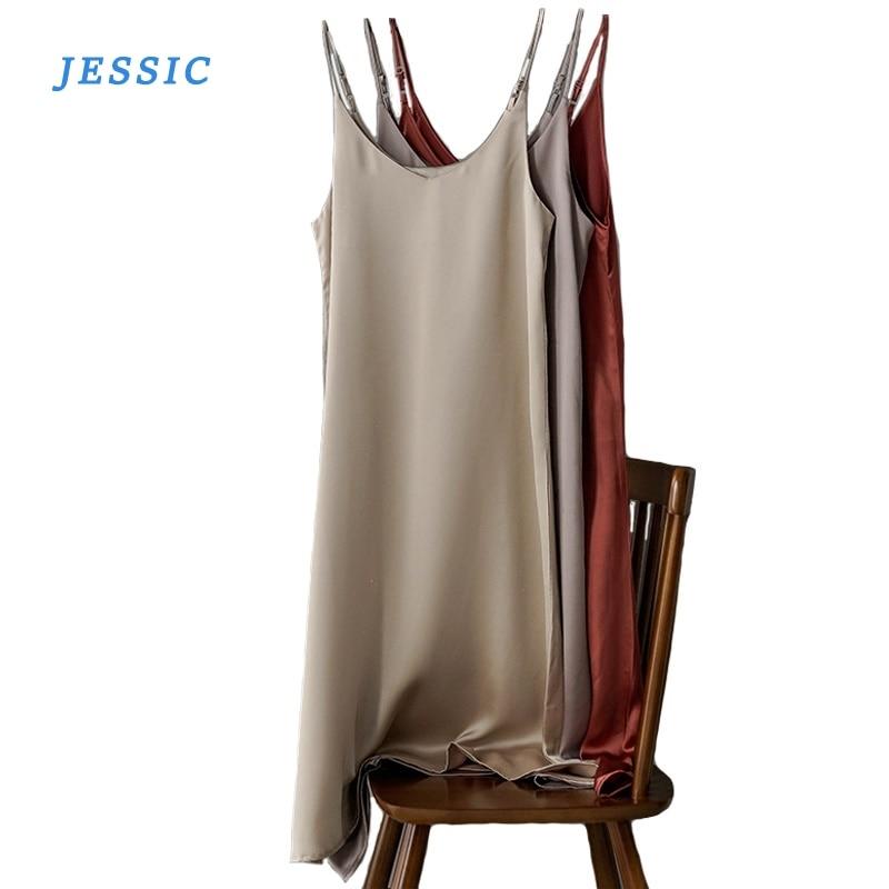 JESSIC Toppies, vestido de satén para mujer, vestido de fiesta de lujo brillante, vestido de imitación de seda, Primavera Verano 2020, Dot sin mangas, lazo Casual