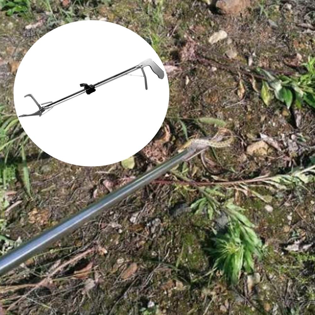 Plegable profesional reptil serpiente Tong Catcher pinzas de acero inoxidable Durable auto bloqueo fuera de la herramienta de la abrazadera