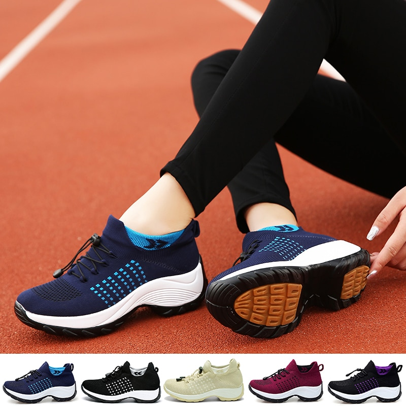 Casual Sneakers Women Tennis Shoes Platform Breathable Comfortable Running Footwear Increasing Heigh