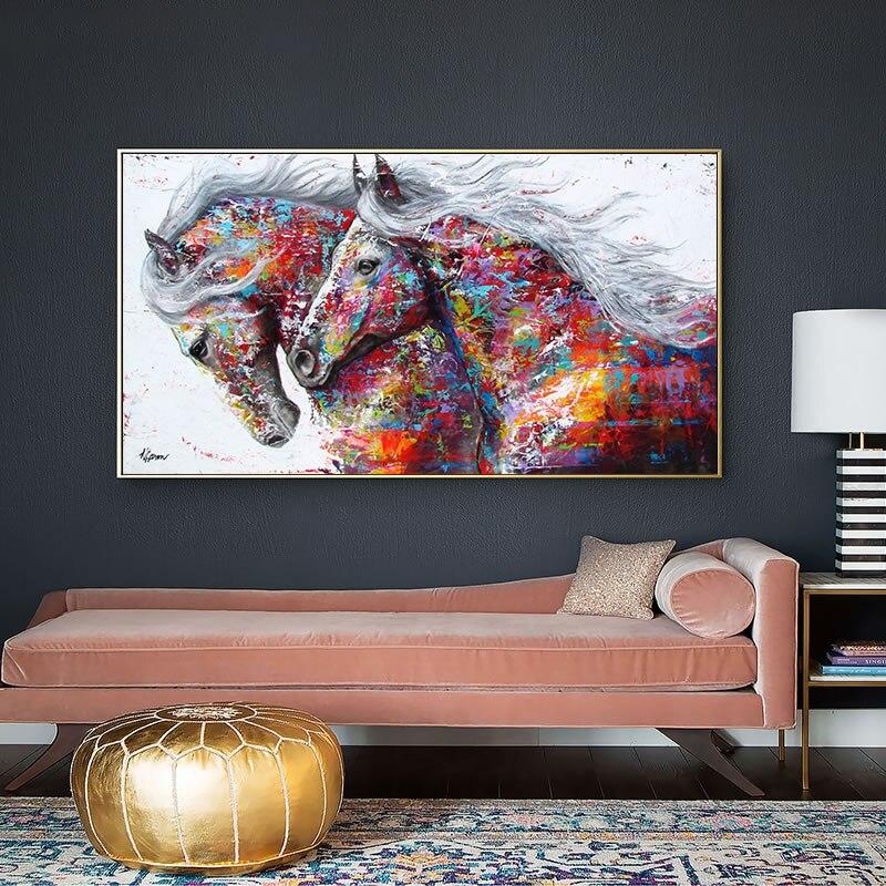 Caballo colorido cuadro decorativo en lienzo cartel nórdico Animal pared arte impresión abstracta pintura moderna decoración de sala de estar