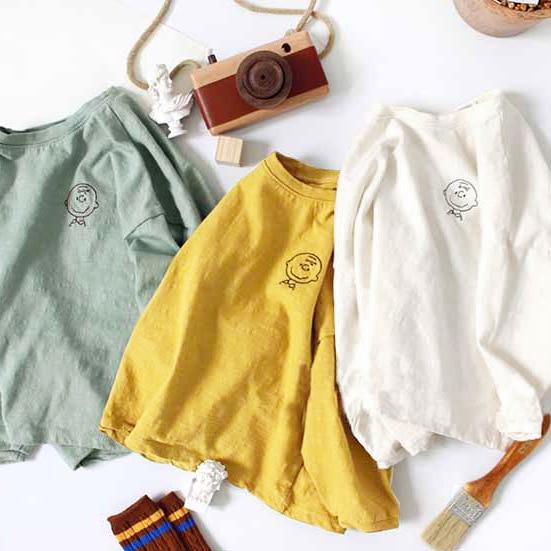 3280 primavera 2020 nova coreano meninos e meninas simples adorável dos desenhos animados algodão all-around camiseta de manga longa crianças camisa topo