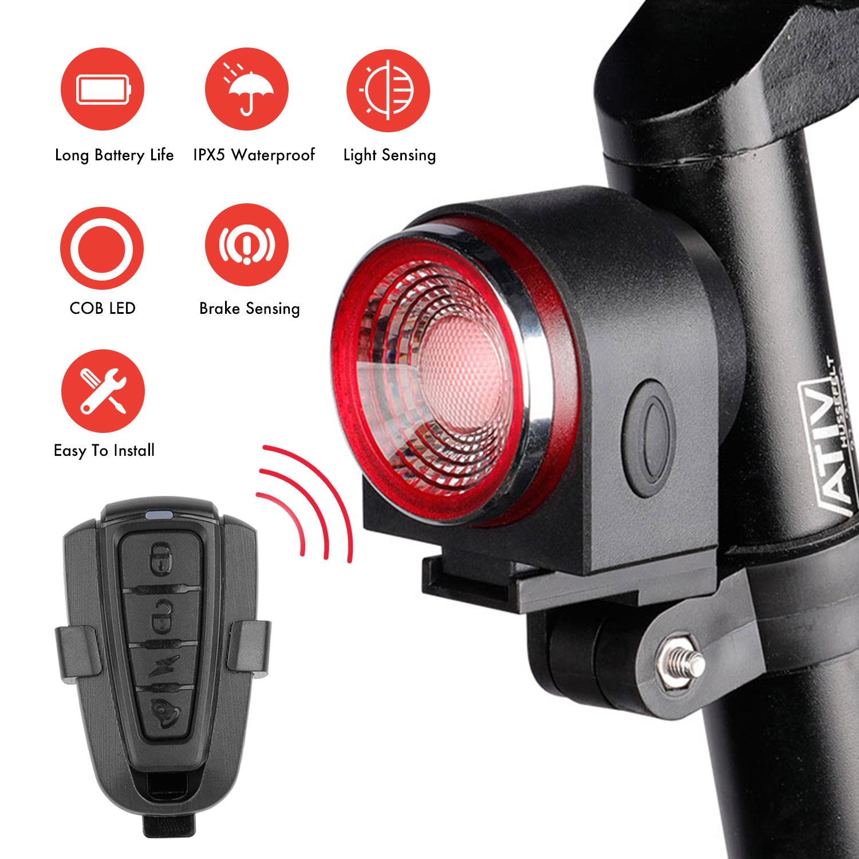 A8 IPX5 Водонепроницаемый USB зарядка задний фонарь для велосипеда дистанционное управление умный велосипед светодиодный свет охранная сигнализация предупреждение Безопасность Путешествия