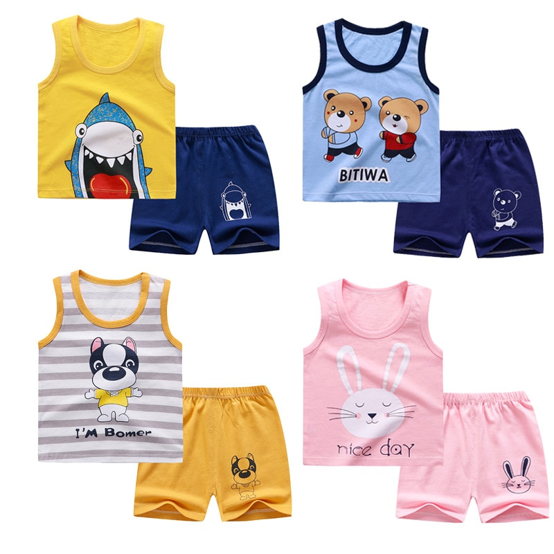 Infant Baby Clothing Sets Summer Cotton Sleeveless Tops+Short 2pcs Kids Vest  Suits  Baby Boys Girls  Clothes Outfit A0093 5pcs set newborn infant baby suits boys girls kids clothes sets tops pants bibs hats girl clothing set for baby girls outfit