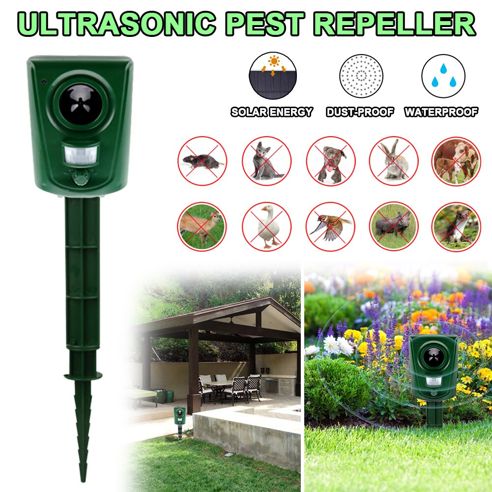 IPX4 Waterproof Ultrasonic Animal Bird RepellerPIR Sensor LED Light Outdoor Bird Mouse Cat Expeller