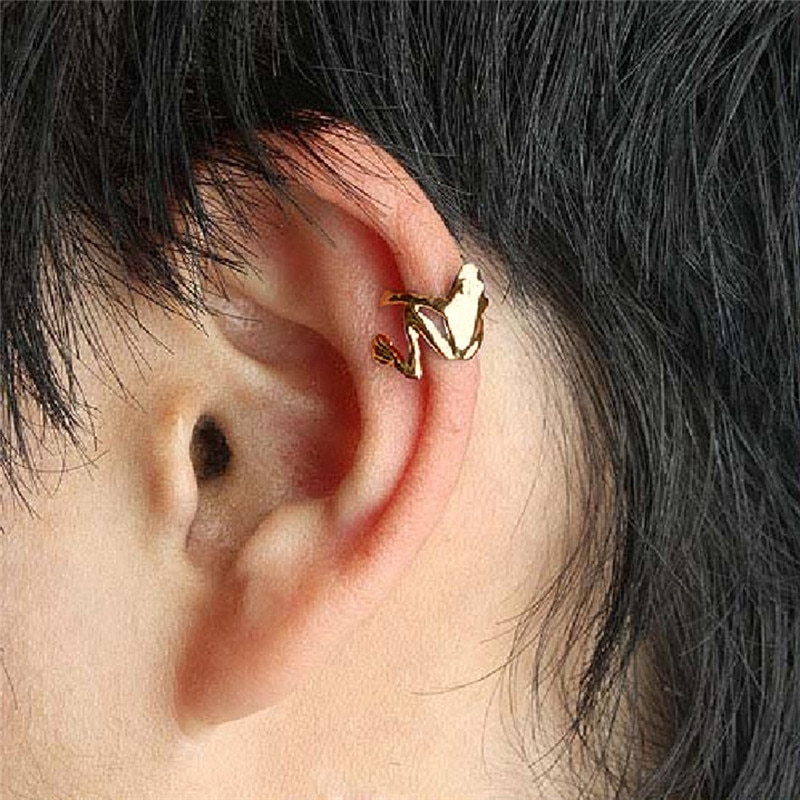 2Pcs Punk Stylish Alloy Frog Cuff Ear Clip Wrap Earring Women Men Earrings Jewelry