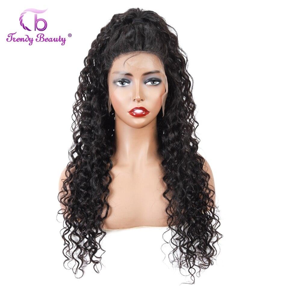 Onda de água brasileira peruca 13*4 frente do laço perucas de cabelo humano pré arrancado peruca de cabelo humano para preto