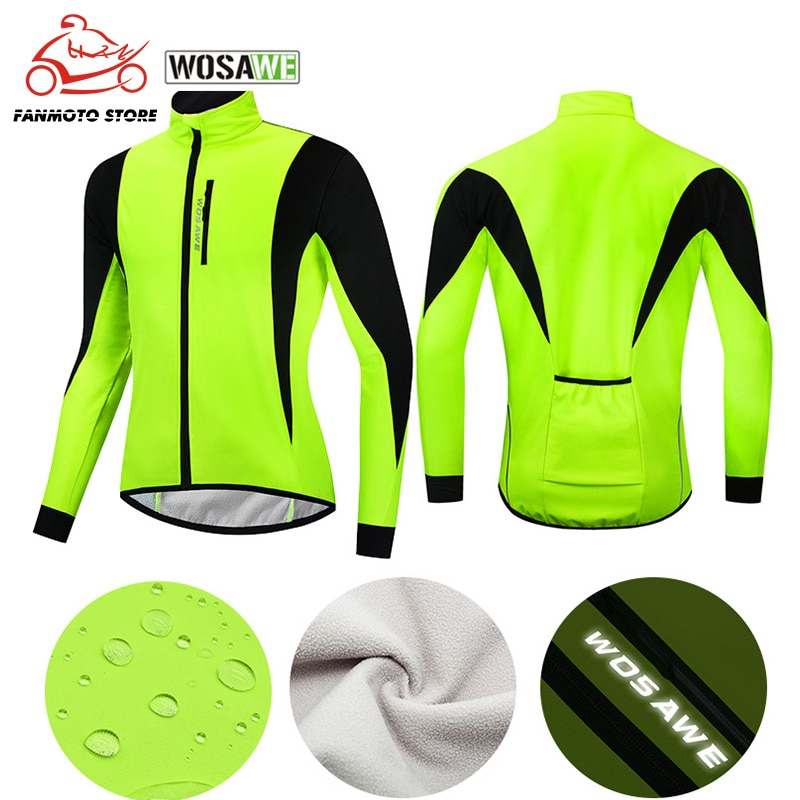 WOSAWE Waterproof Windproof Mens Moto Windbreakers Cycling Jackets Winter Thermal Fleece Reflective Bicycle Wear MTB Bike Coat
