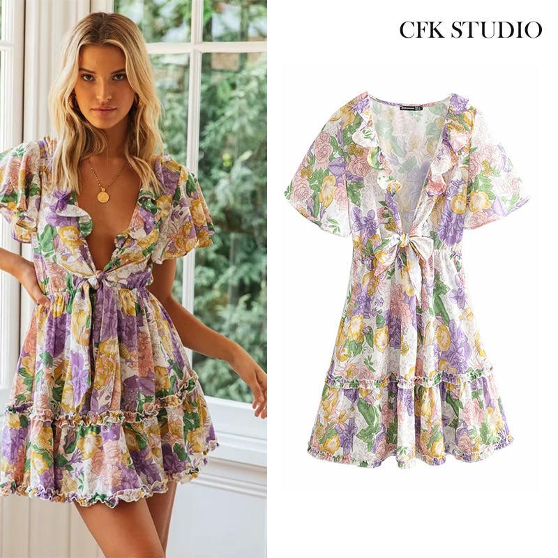 2020 Women Summer Minidress with V-neck Ruffle Sleeve Floral Print Bohemian Sexy Cotton Dress Femme Holidy Beach Shirtdress