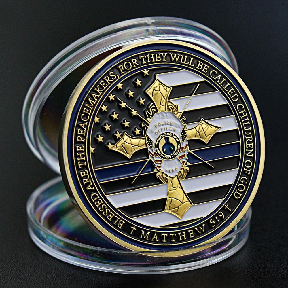 Сувенирная монета из тонкой синей линии, Полицейская молитва офицера полиции, монета павлина, флаг США, позолоченная памятная монета